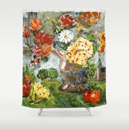 Flowers,  Fruit and a Cathedral Shower Curtain