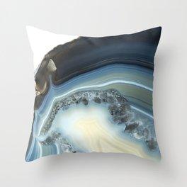 Blue Agate Geode Throw Pillow