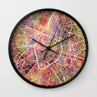 brussels Wall Clocks featuring Brussels by MapMapMaps.Watercolors