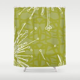 exotic green and white floral shower curtain