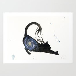 Spiral Galaxy Cat Art Print