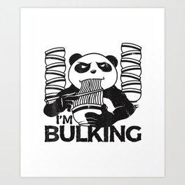 Bulking Panda Fitness Gym Workout Weightlifting Noodles Tee Art Print