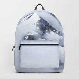 Minimalist MIsty Foggy Mountain Twin Peak Snow Capped Cold Winter Landscape Backpack