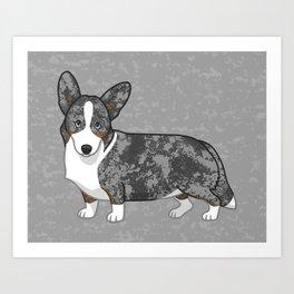Cute Blue Merle & Tan Cardigan Welsh Corgi Dog Art Print