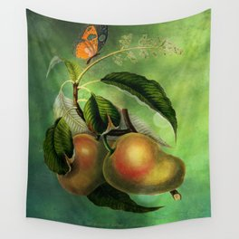 Bombay Mangos with Butterfly, Vintage Botanical Illustration Collage Art Wall Tapestry