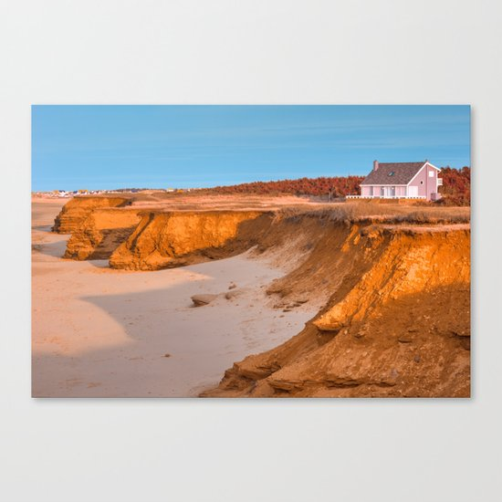 Thunder Cove Beach Cliffs - Golden Pastel Hour Canvas Print