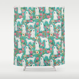 Great Pyrenees florals pattern dog breed must have dog lover gifts Shower Curtain