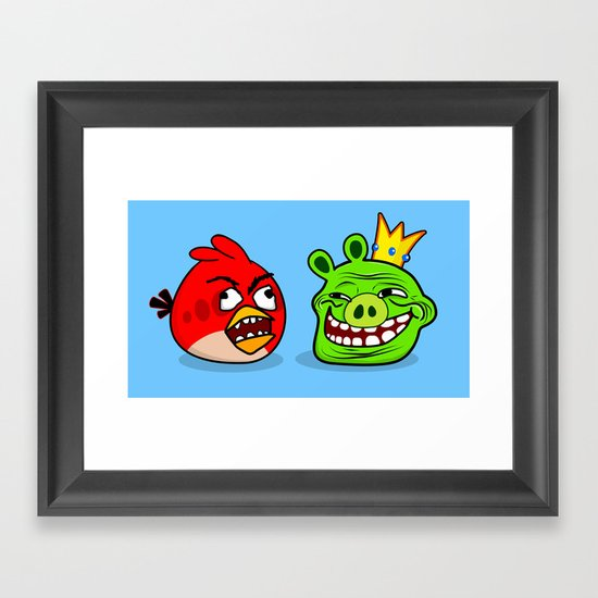Trollface Pig and Rage Guy Angry Bird Framed Art Print