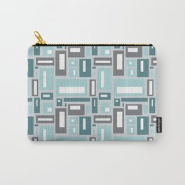 Simple Geometric Pattern in Teal and Gray Carry-All Pouch