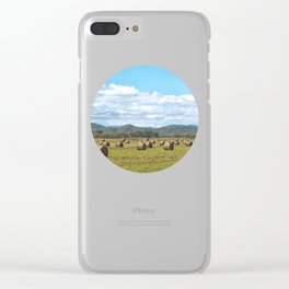 Hay bales on a sunny day Clear iPhone Case