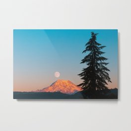 Mount Rainier Moonrise Metal Print