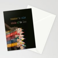 Color outside of the lines Stationery Cards