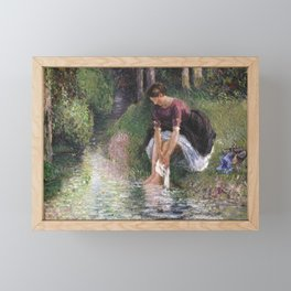 Camille Pissarro - Woman Washing Her Feet in a Brook Framed Mini Art Print