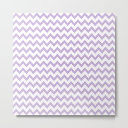 Chevron purple pastel minimal pattern design home decor trendy gifts for nursery baby Metal Print