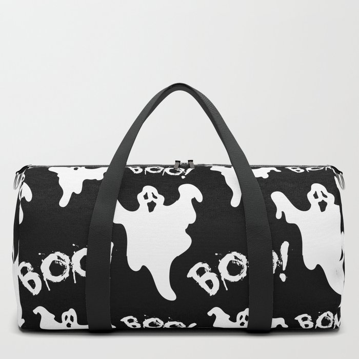 b052da4a21 Cool black white ghost halloween boo typography Duffle Bag by pink water