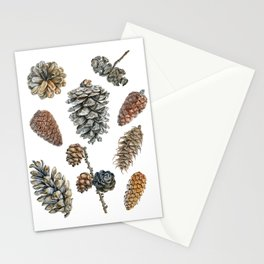 Watercolor hand painted cones Stationery Cards