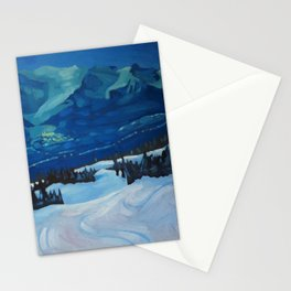 Last Run at Lake Louise Stationery Cards