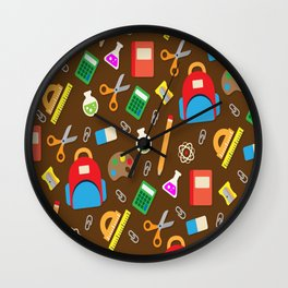 New School Utensils Icons Background for lovers school Wall Clock