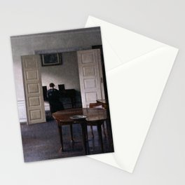 Interior with Ida playing the Piano by Vilhelm Hammershøi - Norwegian Fine Art - Hammershoi Stationery Cards