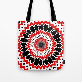 Bizarre Red Black and White Pattern Tote Bag