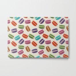 Macaron Cookies, Polka Dots - Blue Green Red Pink  Metal Print