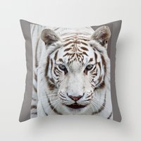 tiger Throw Pillows featuring TIGER TIGER by Catspaws