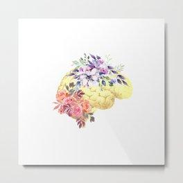 Floral Human Brain Anatomy  Metal Print