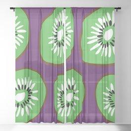 Bright Purple and Green Kiwifruit Pattern Sheer Curtain