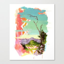 Psychedelic Landscape with Tree Canvas Print