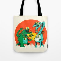 rap Tote Bags featuring Kaiju Rap Battle by Morkki
