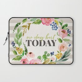 No Day But Today Stripey Watercolor Floral Laptop Sleeve
