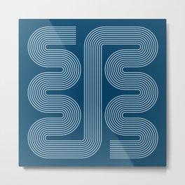 Geometric Lines in night Blue 13 (Mid century Midern Rainbow Abstract) Metal Print