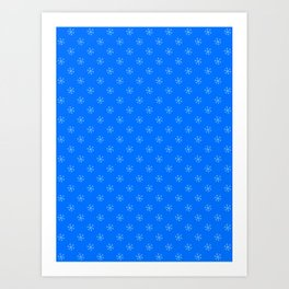 Baby Blue on Brandeis Blue Snowflakes Art Print