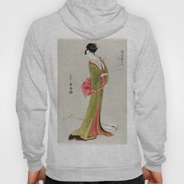 Itsutomi by Eishi Hosoda (1756-1829) a traditional Japanese Ukyio-e style  of a Japanese woman in a kimono and a shamisen on the floor Hoody