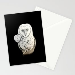 Barn owl and Mushrooms Stationery Cards