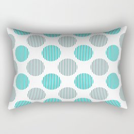 Turquoise, gray and white striped texture polka dots pattern Rectangular Pillow