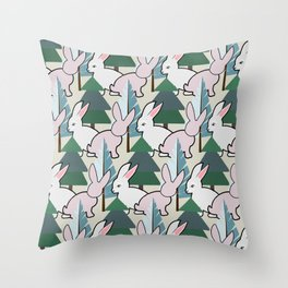 Bunnies and Trees 2 (Cute Buns) Throw Pillow