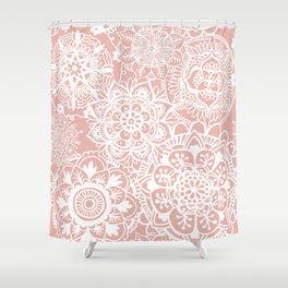 White and Rose Pink Mandala Pattern Shower Curtain