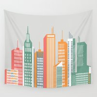 metropolis Wall Tapestries featuring Metropolis / 02 by MariskaART
