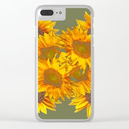 Golden Sunflowers on Putty Color  Art Clear iPhone Case