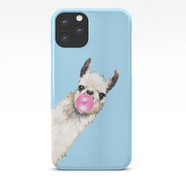 Bubble Gum Sneaky Llama in Blue iPhone Case