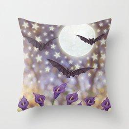 the moon, stars, bats, & calla lilies Throw Pillow