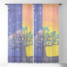 Stylized silhouette of big tree, day and night landscape Sheer Curtain