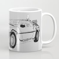 delorean Mugs featuring DeLorean DMC-12 by Martin Lucas