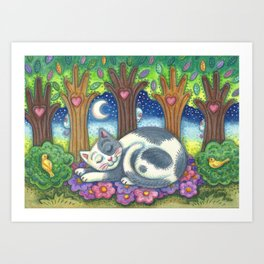 LAND OF CATNAPS AND DREAMS - Brack Folk Art Cat Art Print