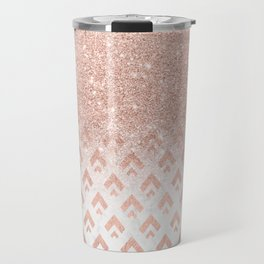 Faux rose gold glitter ombre rose gold foil triangles chevron geometric on white marble Travel Mug