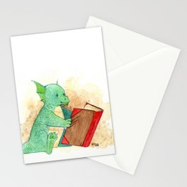 Reading baby dragon Stationery Cards
