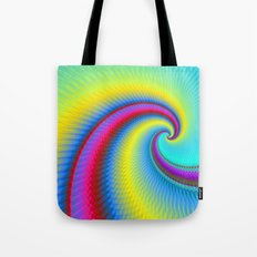 Big Wave in Yellow Turquoise and Red Tote Bag