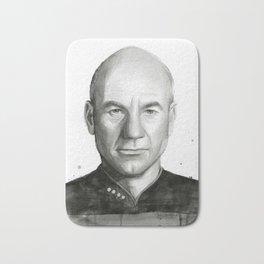 Captain Picard Watercolor Portrait Bath Mat