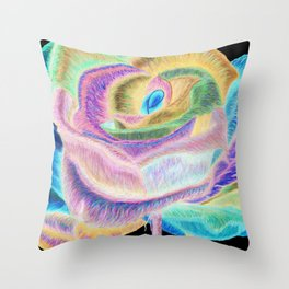 Pretty in Pink (Neon Rainbow Rose) Throw Pillow